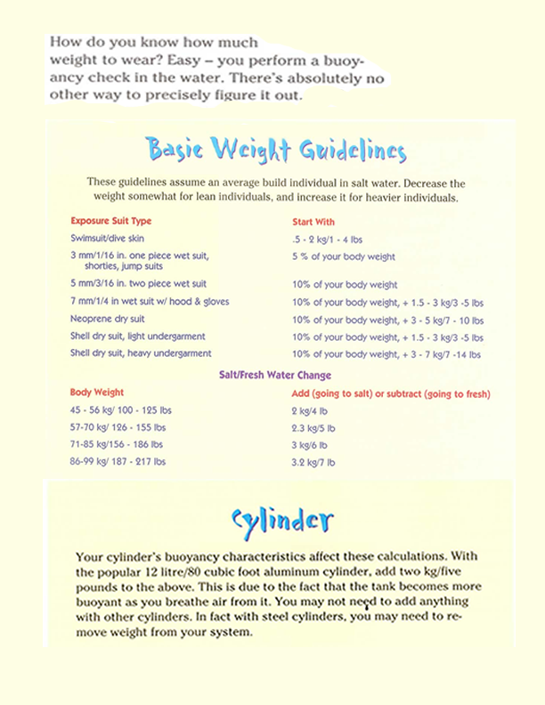 Weight Guidelines Printout